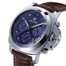 Megir Jam Tangan Pria Chronograph Genuine Leather Band Quartz 3006 - Coklat/Biru