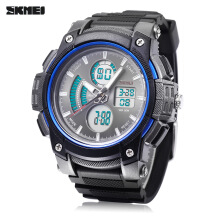 SKMEI 1192 Dual Movt Watch Chronograph Luminous Alarm Date Day Display 5ATM Sports Wristwatch