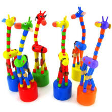 BESSKY Dancing Stand Colorful Rocking Giraffe Wooden Toy - Red
