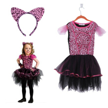 Cat Girl Cotton Blend Dress Halloween Cosplay Costume Kid Leopard Pattern Mesh Dress
