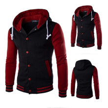 BESSKY Men Coat Jacket Outwear Sweater Winter Slim Hoodie Warm Hooded Sweatshirt -