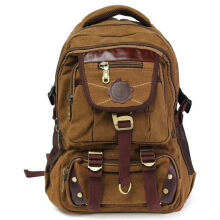 Men Vintage Canvas Backpack Rucksack Satchel Travel Hiking Laptop Bag Brown