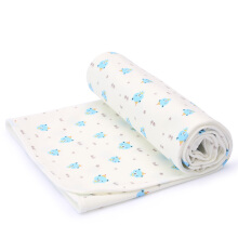 PurCotton Baby Diaper Pad Printed knitted breathable pad 90X70cm Blue bear footprint