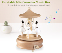 Rotatable Ballerina Wooden Music Box