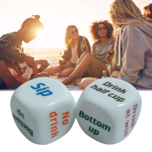 [Kingstore]2 Pcs 25mm Super White Funny English Letter Drink Decider Dice Round Corner