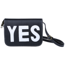 Vintage Style Letter Print Artificial Leather Spaghetti Strap Square Girls Bag