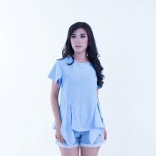 Rianty Basic Atasan Wanita Blouse Elma - Blue Light Blue All Size