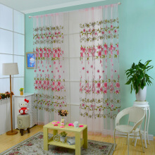 100 X 200CM Floral Printed Tulle Voile Wall Room Divider Curtain-Blue