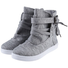 Casual Pure Color Lace Up Ladies Dunk High Canvas Shoes