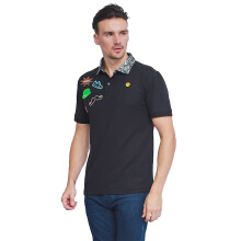 ALINSKIE BROTHERS Badges Mens Polo Shirt Jetta A1012 - Black