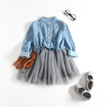 BESSKY  Toddler Baby Girls Denim Dress Long Sleeve Princess Tutu Dress Cowboy Clothes_