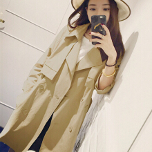 Women fashion contracted loose straight button suit collar pure color trench coat