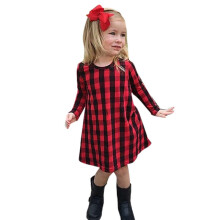 BESSKY Toddler Infant Kids Baby Girl Plaid Print Dress Outfits Clothes Dress_