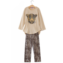Fashionable  Girls Twinset Long Sleeve Leopard Print Asymmetrical(YELLOW 140)