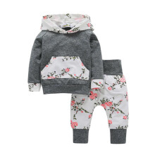 BESSKY 2pcs Toddler Infant Baby Boy Girl Clothes Set Floral Hoodie Tops+Pants Outfits_