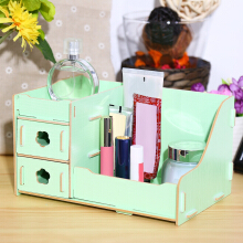 DIY Multifunctional Wooden Cosmetic Desktop Storage Box Make-up Organizer