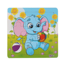 BESSKY Wooden Elephant Jigsaw Toys For Kids Education And Learning Puzzles - Blue