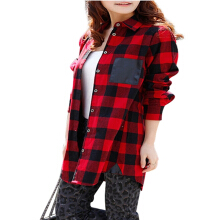 ZANZEA Women Casual Long Sleeve Plaid Pattern Pocket Loose Shirt - Red