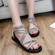 BESSKY Women Flat Shoes Bandage Bohemia Leisure Lady Sandals Peep-Toe Outdoor Shoes _