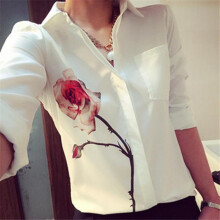 BESSKY Women Long Sleeve Rose Flower Blouse Turn Down Collar Chiffon Shirts _