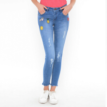 MOUTLEY Ripped Fit Jeans - Blue