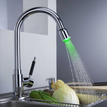 LANGFAN J6201 Brass LED Light Temperature Control Kitchen Sink Faucet