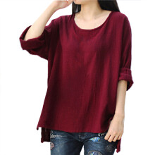 BESSKY  Women Crewneck Long Sleeve Casual Loose Tops T Shirt Blouse Plus Size_