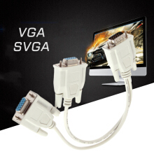 1 PC to 2 Way VGA SVGA Monitor Dual Video Graphic LCD TFT Y Splitter Cable Lead