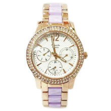 Alexandre Christie Diamond D35H871AC2608LRGU Chronograph Multi Fungsi Jam Tangan Wanita Stainless Steel Chain - Gold/Purple Gold