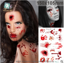 Fashion Halloween Supplies Scab Bloody Makeup Zombie Tattoos  Terror Wound Scary Bloody Sticker Party Supplies