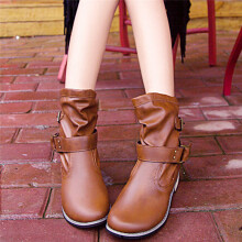 BESSKY New Womens Ladies Flat Ankle Boots Casual Buckle Low Heel Shoes Martin Boots_