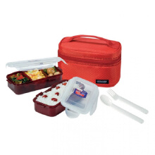 LOCK & LOCK Lunch Box 2P Set W/ Spoon, Fork, & Bag HPL752DR -  Red