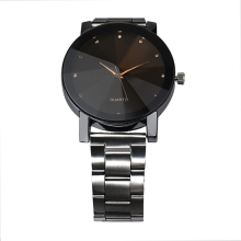 BESSKY Fashion Man Women Crystal Stainless Steel Analog Quartz Wrist Watch-