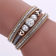 BESSKY Women Multilayer Bangle Bracelet Crystal Beaded Leather Magnetic Wristband-