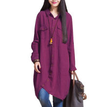ZANZEA Women's Cotton Loose Long Shirt - Light Brown