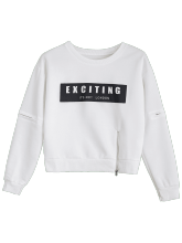 Zippered Crew Neck Letter Sweatshirt ONE SIZE