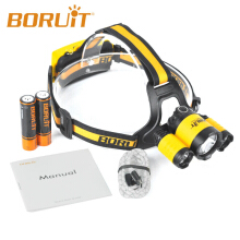 BORUiT Upgraded RJ-3000 Plus XM-L T6 3 LED Micro USB Cable+2x18650 PCB Battery Headlamp Hunting Headlight Yellow