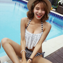 Women's Sexy Halter Lace Flounce Striped Bikini Two Piece Swimwear