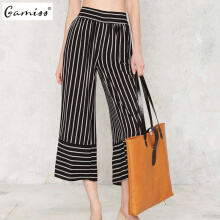 New arrival fashion casual loose pants woman vintage sicily striped pants
