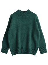 Mock Neck Heathered Loose Sweater ONE SIZE