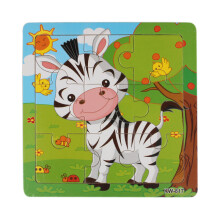 BESSKY Wooden Zebra Jigsaw Toys For Kids Education And Learning Puzzles Toys - White