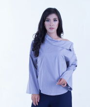 Rianty Basic Atasan Wanita Blouse Femme - Gray - All Size Grey All Size