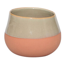 VIVERE Vase Deco Simply Bata - Taupe & Orange / 16X16X12Cm