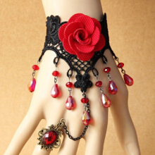 Beads Tassel Flower Bracelet with Ring