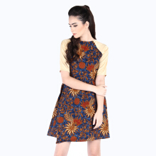 Rianty Batik Dress Wanita Evalia - Blue