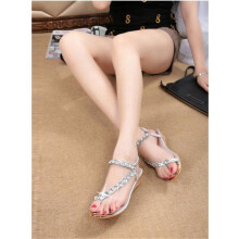BESSKY Woman Summer Sandals Rhinestone Flats Platform Wedges Shoes Flip Flops -