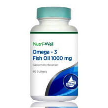 NUTRIWELL Omega 3 Fish Oil 1000 mg 60 Softgels
