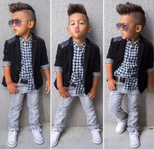 7pcs Casual Boys Blazer Plaid Shirt Denim Pants Turn Down Collar