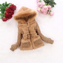 BESSY Toddler Baby Girls Autumn Winter Knit Sleeve Faux Fur Coat Hood Outwear Clothes_
