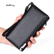 Baellerry Men Lichee Pattern Metal Clip Embellishment Vertical Long Portable Clutch Wallet VERTICAL
